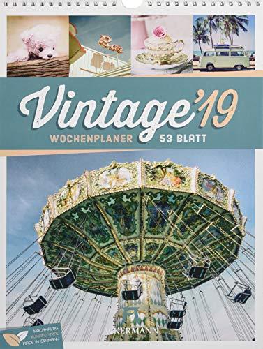 Vintage - Wochenplaner 2019, Wandkalender im Hochformat (25x33 cm) - Nostalgie im Retro-Look -Wochenkalender mit Rätseln und Sudoku auf der Rückseite