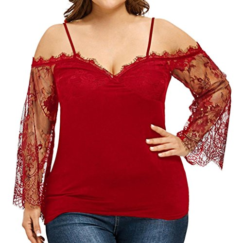 OYSOHE Large Size Women Off Shoulder T-Shirt Lace Long Sleeve Casual Tops Blouse