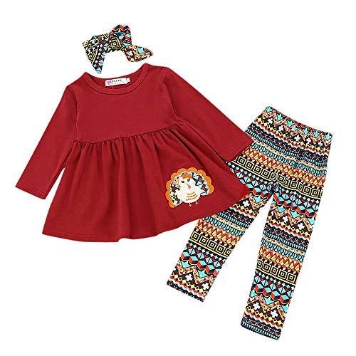 JiaMeng 3 Stücke Kleinkind Säuglingsbabys Türkei Bestickte Kleider Hosen Thanksgiving Day Outfits Set Dress + Pants + Hair Strap Set