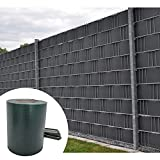 PVC Sichtschutzstreifen Zaunfolie 35m Rolle inklusive 30 Befestigungsclips - grün