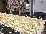 Senf Gelb Natur Fischgrätenmuster Baumwolle Garn Gold Läufer Teppich 70cm x 200cm