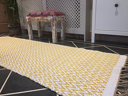 Mostaza Amarillo Natural Herringbone algodón hilo de oro Runner Alfombra 70cm x 200cm