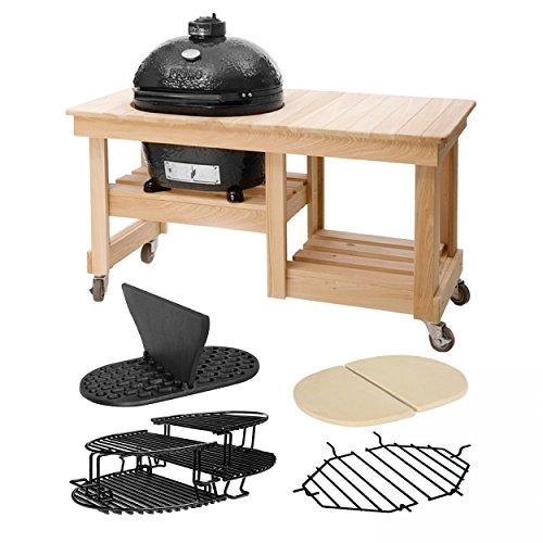 Primo PrimoOval300L-Set2 Oval 300 Large im Set mit Counter Top Tisch, Trennscheibe, Hitzeschutzplatten und zusätzlichen Rosten (Counter-tisch-set)