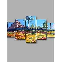 OFLADYH ® pinturas al óleo del paisaje con textura pintadas a mano paleta cuadro de la pared del arte del marco estirado , with frame