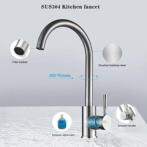 Kinse® Elegant Gebürstet Silber Küchearmatur Mischbatterie Spültischarmatur aus Edelstahl SUS304 mit ABS Bubbler Kann Wasser 30% Sparen für Küche Waschbecken - 4