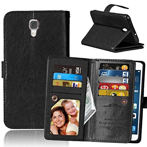 Wkae Case Cover LG X SREEN K500N Fall Flip Folio Case Solid Farbe Premium Synthetik-Leder-Kasten-Standplatz-Mappen-Kasten-Kasten mit 9 Karten-Bargeld-Slots für LG X SREEN K500N ( Color : Red , Size :  Blue