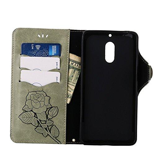 YHUISEN Nokia 6 Case, Luxus Retro Rose Premium PU-Leder Magnetverschluss Flip Wallet Schutzhülle mit Lanyard für Nokia 6 ( Color : Blue ) Light Green