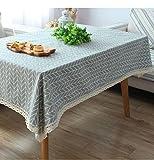 Plaid Tuch Tischdecken einfach Leinentischdecke Picknicktisch pastorale rechteckiger Couchtisch , 140*140cm lace money , gray
