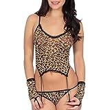 Unterwäsche FORH Damen Versuchung Leopard Erotik Spitze Dessous super Reizvolles Strapsgürtel Weste und Charmant Slip mit Nette Strumpfband Body Handschuhe tolle unterwäsche Set (Freie Größe, Gelb)