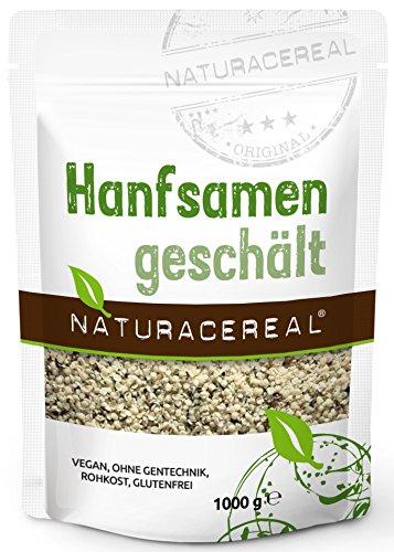 NATURACEREAL Hanfsamen, geschält, 1.000g - Proteinquelle + Omega-3, vegan, glutenfrei, ohne Gentechnik
