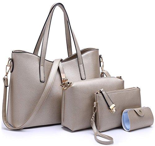 Tibes PU cuir sac à main + épaule de sac de femmes de la mode + porte-monnaie + carte 4pcs mis Bronze1