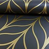 HOLDEN schimmernde GEO gestreifte Tapete Art Deco Spalier Metallisches Motiv Exklusiv - 50062 dunkelgrau gold