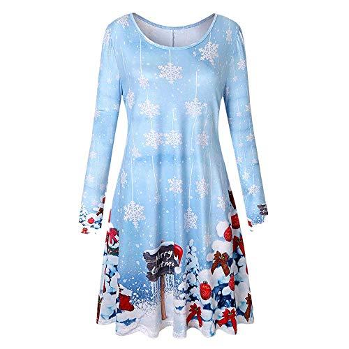 Mama Kostüm Löwe - SEWORLD Weihnachten Retro Christmas Weihnachtsfrauen Frauen Langarm Weinlese Weihnachts Weihnachtsdruck Rundhals Partei Kleid(Himmelblau,EU-36/CN-L)