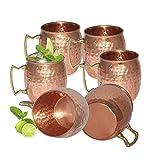 Zap Impex Reines Kupfer gehämmert Kupfer Moscow Mule Becher Ideal für Alle gekühlten Drink Bar oder Home großen Geschenk-Set von 6