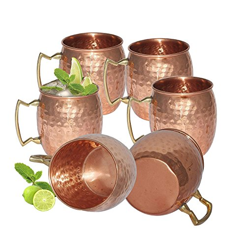 Zap Impex reines Kupfer gehämmert Kupfer Moscow Mule Becher Ideal für alle gekühlten Drink Bar oder Home großen Geschenk-Set von 6 - Jamaika-geschenk-set