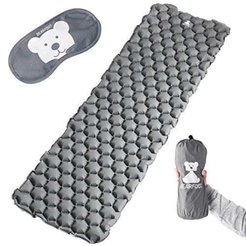 BEARFOOT Ultraleichte Schlafmatte Isomatte Luftmatratze mit Luftzellen für Outdoor Camping, Reisen, Hiking, Backpacking, Strand - ultrakompakt - (Dunkelgrau)