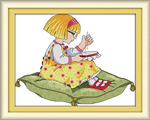 Yeesam Art® Kreuzstich-Set mit Zählmuster - Weihnachten, Hirsch, Elch, Kranz, Vögel, Glückskekse - Stickerei-Set zum Selbermachen, handgefertigte Weihnachtsgeschenke, Mädchen 2, Stamped -