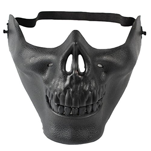 gespout Halloween Scary Hälfte Gesicht Maske Horror Totenkopf Maske Bar Bereich Kampf Party Dekorative Requisiten Super horror CS Warrior Maske 15X19cm (Bilder Scary Ghost Super)
