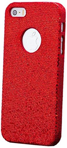 iCues Apple iPhone SE / 5S / 5    Glitzer Case Türkis   [Display Schutzfolie Inklusive] Strass Glitzer Glitter Luxus Bling Damen Frauen Mädchen Schutzhülle Hülle Cover Schutz Rot