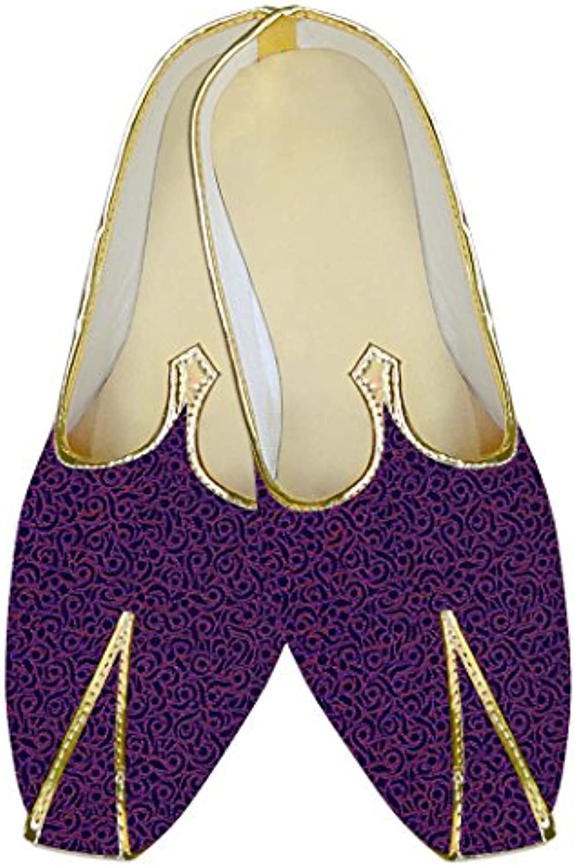 INMONARCH Hombres de Poliéster Azul Marino Zapatos de Boda Floral Diseñador MJ14400