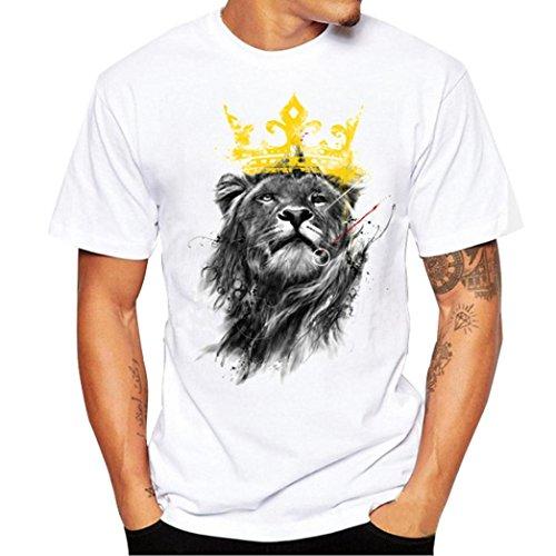 Shirts Herren, GJKK Herren Löwe Druck Tees Shirt Kurzarm T-Shirt Bluse Sweatshirts Basic O-Ausschnitt Shirt (Weiß, L) (Sleeve Logo Basic Tee Long)
