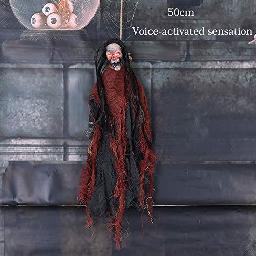 Yalatan Halloween-Hängegeist-Deko, Unheimlich Stimmenkontrolle Hängender Geist Prop Streich Kniffliges Spielzeug