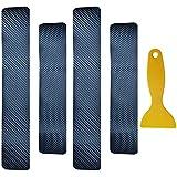 VIQILANY 4 Pcs/set Universal Soft 3D Carbon Fiber Sticker Anti Scratch Car Door Sill Protector Scuff Plate Cover - Black