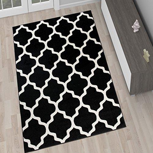 Tapiso Alfombra De Salón Moderna Colección Marroquí – Color Negro De Diseño Geométrico Enrejado – Mejor Calidad – Diferentes Dimensiones S-XXXL 200 x 290 cm