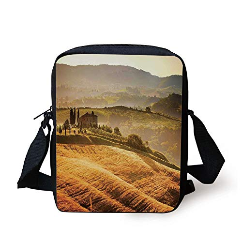 Tuscan,Siena Tuscany Retro Farm House Trees Old Path Country Landscape on Sunset,Ginger and Green Print Kids Crossbody Messenger Bag Purse - Country Path Light