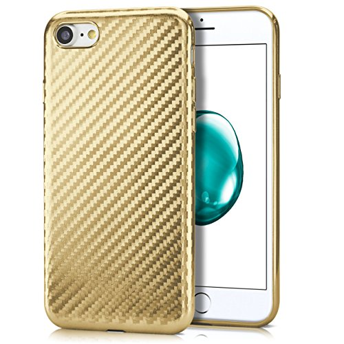 iPhone 6S Hülle Rosé-Gold Karbon Optik [OneFlow Pulse Back-Cover] Schutzhülle Ultra-Slim Silikon Handy-Hülle für iPhone 6/6S Case Carbon Silikonhülle Tasche CARBON-GOLD