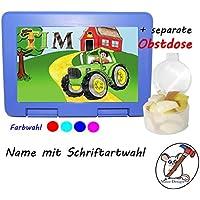 Kinder Brotdose mit Traktor Motiv und Name/Lunchbox für Kinder mit Name/Bulldog/Farbwahl Brotbox + Schriftwahl für Name