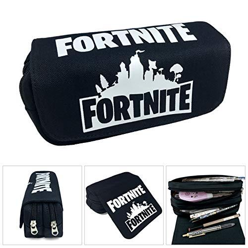 Fortnite Pencil Case, grande capacité papeterie crayon pochette sac affaire toile organiseur cosmétique avec deux grandes poches pour les garçons, fil...