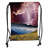 Trsdshorts Lake House Decor,Sky with Electrical Storm Rays Powerful Effect on Earth Rural Landscape Print,Green Pink Blue Soft Satin,5 Liter Capacity,Adjustable STRI