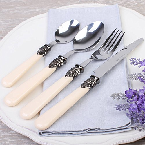 24 Piece French Antique Cream Cutlery Set, comprising 6 place settings.