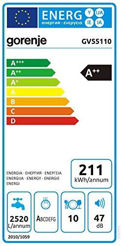 Gorenje GV 55110 SmartFlex Advanced/Vollintegrierbarer Geschirrspüler/A++/10 Maßgedecke/211 kWh/Jahr/44,8 cm/Total AquaStop/schwarz