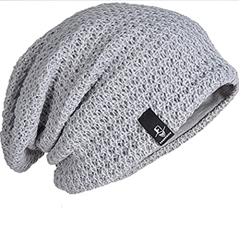 FORBUSITE Mens Striped Baggy Slouch Large Beanie Cap BK09 (B08-Light Grey)