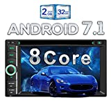 Pumpkin Android 7.1 Octa Core 32GB 2GB Car Stereo Radio with Bluetooth Sat Nav Double Din Head Unit AUX Touch Screen with CD DVD Player Support DAB+ Mirror Link WIFI USB AV-OUT Subwoofer OBD2 Cam-In