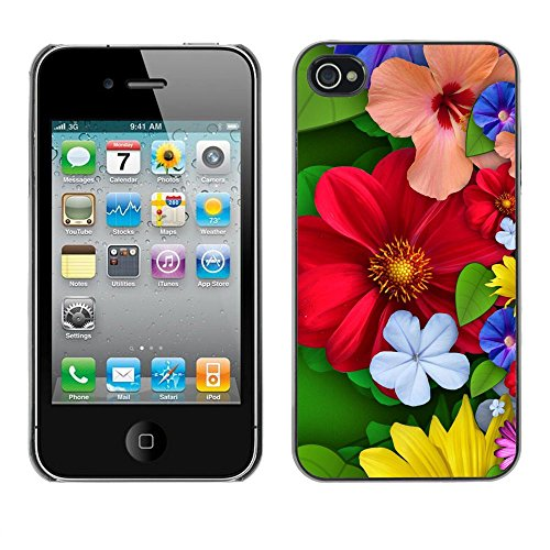 TopCaseStore / caoutchouc Hard Case Housse de protection la Peau - Floral Spring Colorful Blossom Red Flowers - Apple iPhone 4 / 4S