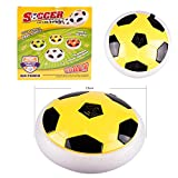 Hover Football Disc Floating Soccer Indoor Game Foam Bumpers LEDs--Yellow
