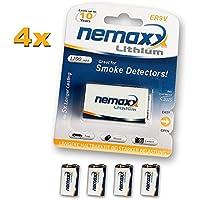 Nemaxx 4 x 9 V Batteria al litio per rilevatori di fumo, 10 anni di durata