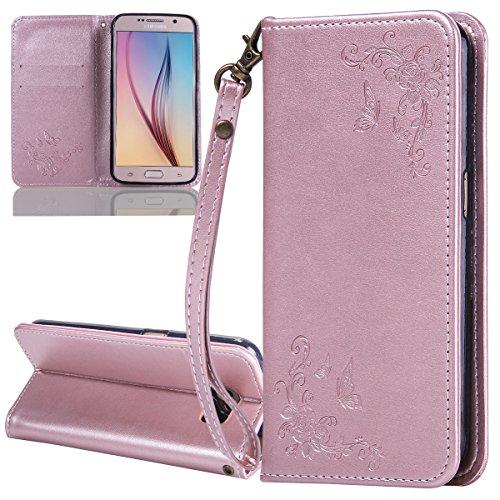 ISAKEN Compatibile con Samsung Galaxy S6 Custodia - Libro Flip Case Portafoglio Wallet Cover in PU Pelle Tinta Unita Custodia Embossed Rose Caso con Supporto di Stand/Carte Slot Rose: Rose Gold
