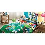 TI Home Schlümpfe Lizenzprodukt Bettbezug-Set, 100% Baumwolle Ranforce, Single Größe 3-teiliges Bettwäsche-Set