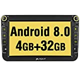 """PUMPKIN Android 8.0 Car Stereo Head Unit for VW Golf Passat Polo 4GB RAM with Sat Nav Bluetooth Support GPS DAB+ WIFI Android Auto AUX 128GB USB SD 1S Fastboot 8"""" Touch Screen"""