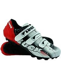 LUCK Zapatillas de Ciclismo Extreme 3.0 MTB,con Suela de Carbono y Triple Tira de Velcro de sujeción ademas de Puntera de Refuerzo. (44 EU, Rojo)