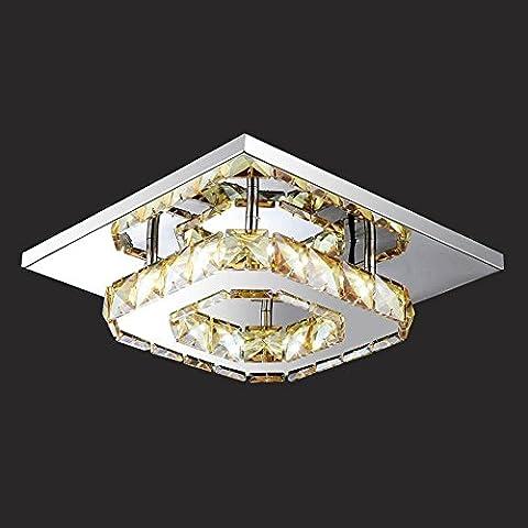 Moderne SimpleSquare en acier inoxydable Crystal Stepless Tension de gradation 220V * 240V LED Plafonnier Taille D20CM * H8CM Irradiation Area 5m² * 8m², pour l'entrée, balcon, Home Lights