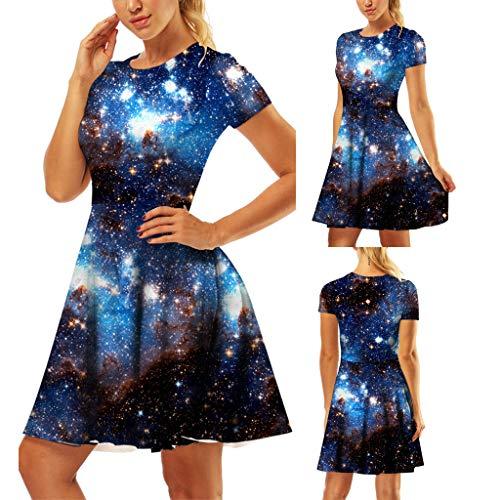 ♔Wawer Damen Kleid, Kurzärmliges Kleid mit Rundhalsausschnitt und Damenprint Frauen Art und Weise 3D-gedrucktes kurze Hülse O-Ansatz Weinlese-beiläufiges Kleid