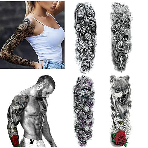 Crazy-m 4 Blätter temporäre Arm Tattoos Aufkleber für Männer Frauen Temporär Tätowierung Aufkleber Herren Damen Arm Tätowierung Full Arm Tattoo Strumpf für Karneval Fasching Party (Frauen Armee Kostüme)