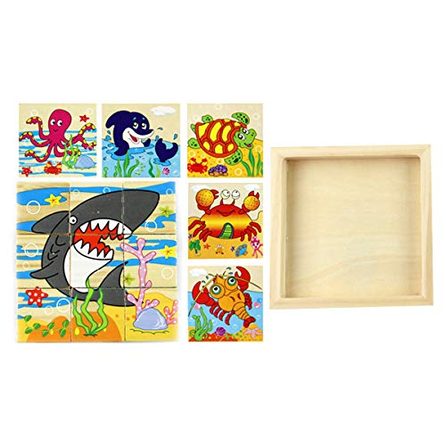AIUIN 5 in 1 Holz Tier Block Puzzle Big Cube Elefant AFFE Fisch Bär Löwe Krokodil Muster Blöcke mit Holzablage für Kleinkinder Jungen Mädchen 2 3 4 Jahre alt (Meerestiere)