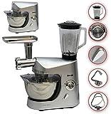 Küchenmaschine Standmixer Fleischwolf Rühr Maschine Gerät 1800 W max. silber DMS®