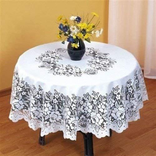 SUPERBE blanc ronde nappe de table en dentelle lourde 32 \